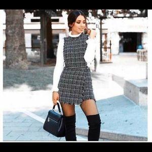 ZARA TWEED PINAFORE JUMPSUIT DRESS FRAYED 2236/644
